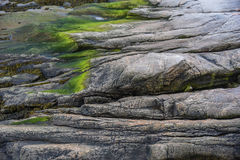 Granite shoreline in Tadoussac, Quebec, Canada royalty free stock images