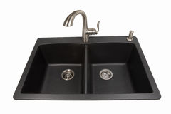 Granite Sink with Brushed Stainless Faucet stock photography