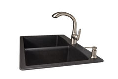 Granite Sink with Brushed Stainless Faucet Stock Photos