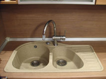 Granite sink with mixer Stock Photos