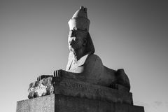 Granite sphinx. Black and white photo of monument Royalty Free Stock Image