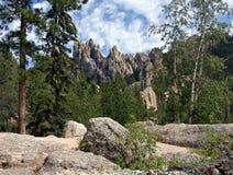 Granite Spires in the Black Hills of South Dakota. Granite spires viewed from Needles Highway in the Black Hills of South Dakota Stock Photography