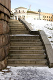 Granite staircase. There is a granite staircase in the old russian city Stock Photography