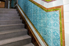 Granite Staircase with Patterned Ceramic Tiles Stock Photo