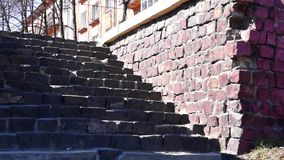 Granite stairs and old house stock video footage