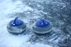 Granite stones for curling on ice Royalty Free Stock Photos