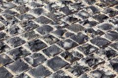Granite stones. Square granite stones on the pavement Royalty Free Stock Photos