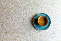 Granite table with blue modern coffee cup. Top view with copy space. Flat lay. Granite table with blue modern coffee cup. Top view with copy space. Flat lay royalty free stock photography