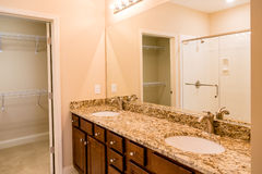 Granite Vanity and Wood Bath Cabinets Royalty Free Stock Image