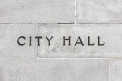 Granite Wall CIty Hall Sign Royalty Free Stock Images