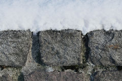 Granite wall in the snow Stock Photography