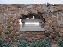 Granite window in old fortification with sea panorama, Caprera I Stock Photo