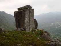 Granitic mountains and deforested hills of Peneda-Gerês national park in northern Portugal stock images
