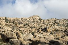 Granitic rock formations in La Pedriza Royalty Free Stock Photos