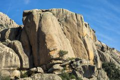 Granitic rock formations in La Pedriza Royalty Free Stock Images