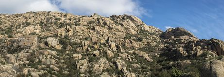 Granitic rock formations in La Pedriza Stock Images