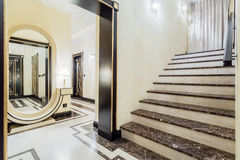 Granitic stairs in luxury residence Royalty Free Stock Photography