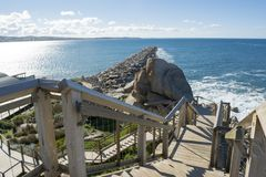 Granitowa wyspa Groyne i schody, zwycięzcy schronienie, Południowy Austra Obraz Stock