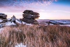 Granitowy tor na mroźnym ranku w Dartmoor, Anglia Fotografia Royalty Free