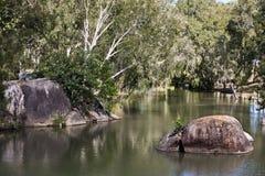 Granitowy wąwóz blisko Mareeba widoku rzeka Obrazy Stock
