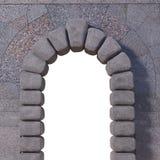 Granitport med väggen och den vita öppningen royaltyfri bild