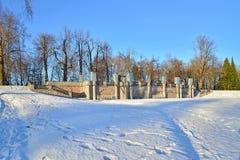 Granitterrassterrass Rusca i Catherine Park i vinter Royaltyfria Foton