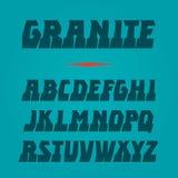Granitvektorguß Starke Alphabetbeschriftung Lateinische Zeichen Stockbilder
