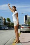 Granizando um táxi Fotos de Stock Royalty Free