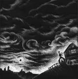 Granja blanco y negro - ilustraciones Imágenes de archivo libres de regalías