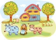 Granja con una casa y los animales Foto de archivo libre de regalías