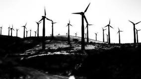 Granja de la turbina de viento del alto contraste almacen de metraje de vídeo