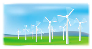 Granja de las turbinas de viento. Fuente energética alterna. Fotografía de archivo libre de regalías