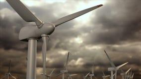 Granja de los generadores de viento contra un cielo de la tormenta stock de ilustración