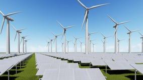 Granja de los paneles solares y generador de viento ilustración del vector