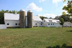 Granja de trabajo con los silos gemelos Foto de archivo libre de regalías
