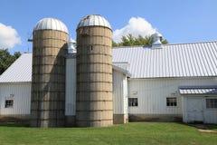 Granja de trabajo con los silos gemelos Fotografía de archivo libre de regalías