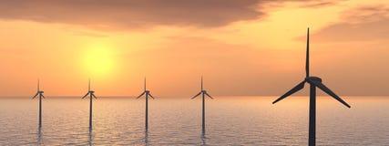 Granja de viento costa afuera Imagen de archivo libre de regalías