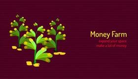 Granja del dinero amplíe su espacio y haga mucho un afluente invierta junto Ilustraci?n EPS10 del vector stock de ilustración