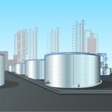 Granja del tanque de acero vertical de la refinería con la tubería Fotos de archivo