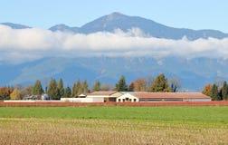 Granja del valle del paisaje en otoño fotografía de archivo