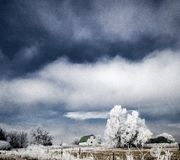 Granja en el Frost en invierno imágenes de archivo libres de regalías