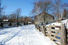 Granja en el invierno Fotos de archivo