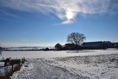 Granja en el invierno Fotografía de archivo