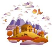 Granja en el paisaje escénico del otoño de los campos y de los árboles, montañas p ilustración del vector