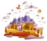 Granja en el paisaje escénico del otoño de los campos y de los árboles, montañas p stock de ilustración