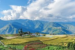 Granja en las montañas del este de Bhután Fotografía de archivo libre de regalías