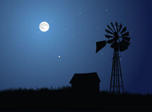Granja iluminada por la luna Fotos de archivo libres de regalías