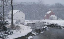 Granja mítica en nieve del invierno Fotografía de archivo libre de regalías
