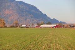 Granja moderna y paisaje rural en valle fotografía de archivo