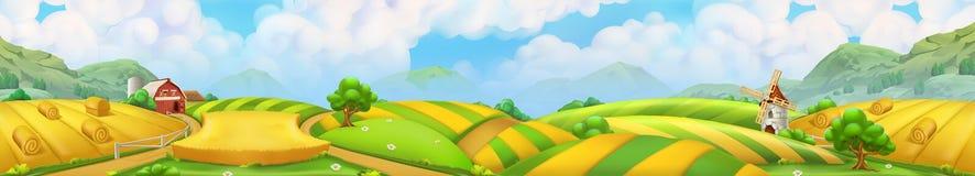 Granja, paisaje del panorama, vector libre illustration